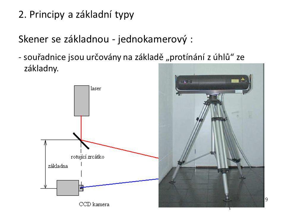 """10 Skener se základnou - dvoukamerový : -souřadnice jsou určovány na základě """"protínání z úhlů ze základny, projektor slouží jen k označení bodů, -Jsou skenery s projektorem (strukturované světlo i bez)."""