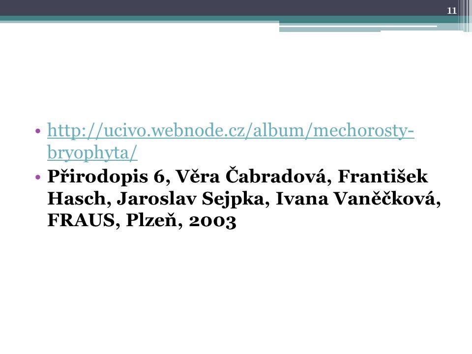 http://ucivo.webnode.cz/album/mechorosty- bryophyta/http://ucivo.webnode.cz/album/mechorosty- bryophyta/ Přirodopis 6, Věra Čabradová, František Hasch