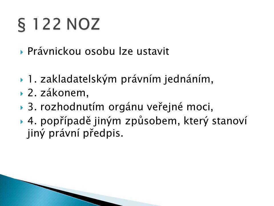  § 125  (1) Více zakladatelů zakládá právnickou osobu přijetím stanov nebo uzavřením  jiné smlouvy.