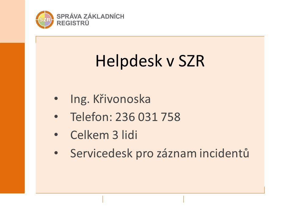 Helpdesk v SZR Ing. Křivonoska Telefon: 236 031 758 Celkem 3 lidi Servicedesk pro záznam incidentů