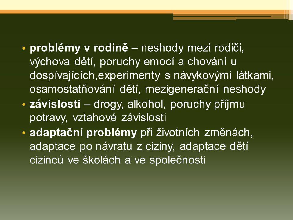 závislosti – drogy, alkohol, poruchy příjmu potravy, vztahové závislosti adaptační problémy při životních změnách, adaptace po návratu z ciziny, adapt