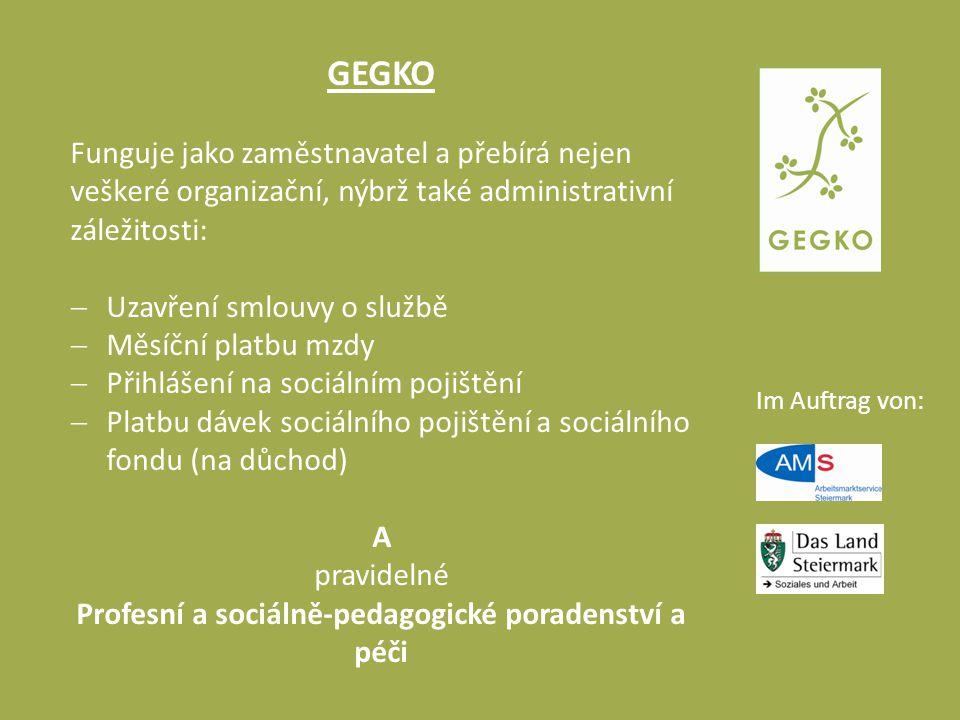 Im Auftrag von: GEGKO Funguje jako zaměstnavatel a přebírá nejen veškeré organizační, nýbrž také administrativní záležitosti:  Uzavření smlouvy o slu