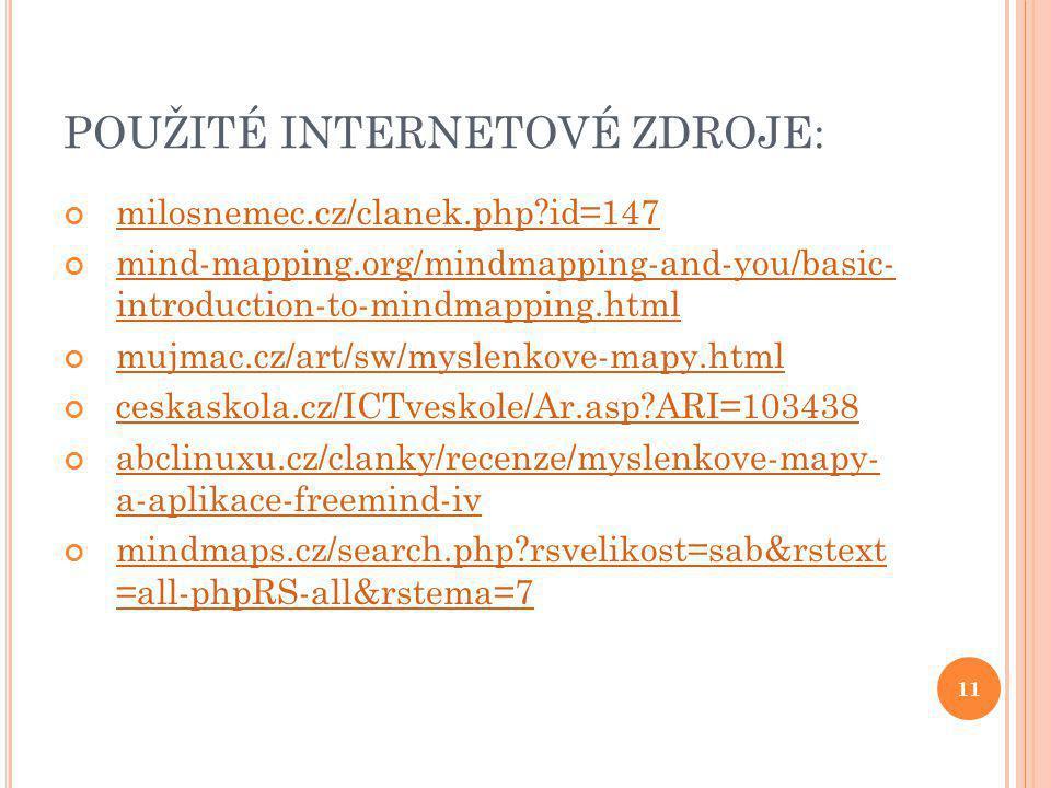 11 POUŽITÉ INTERNETOVÉ ZDROJE: milosnemec.cz/clanek.php?id=147 mind-mapping.org/mindmapping-and-you/basic- introduction-to-mindmapping.html mujmac.cz/art/sw/myslenkove-mapy.html ceskaskola.cz/ICTveskole/Ar.asp?ARI=103438 abclinuxu.cz/clanky/recenze/myslenkove-mapy- a-aplikace-freemind-iv mindmaps.cz/search.php?rsvelikost=sab&rstext =all-phpRS-all&rstema=7
