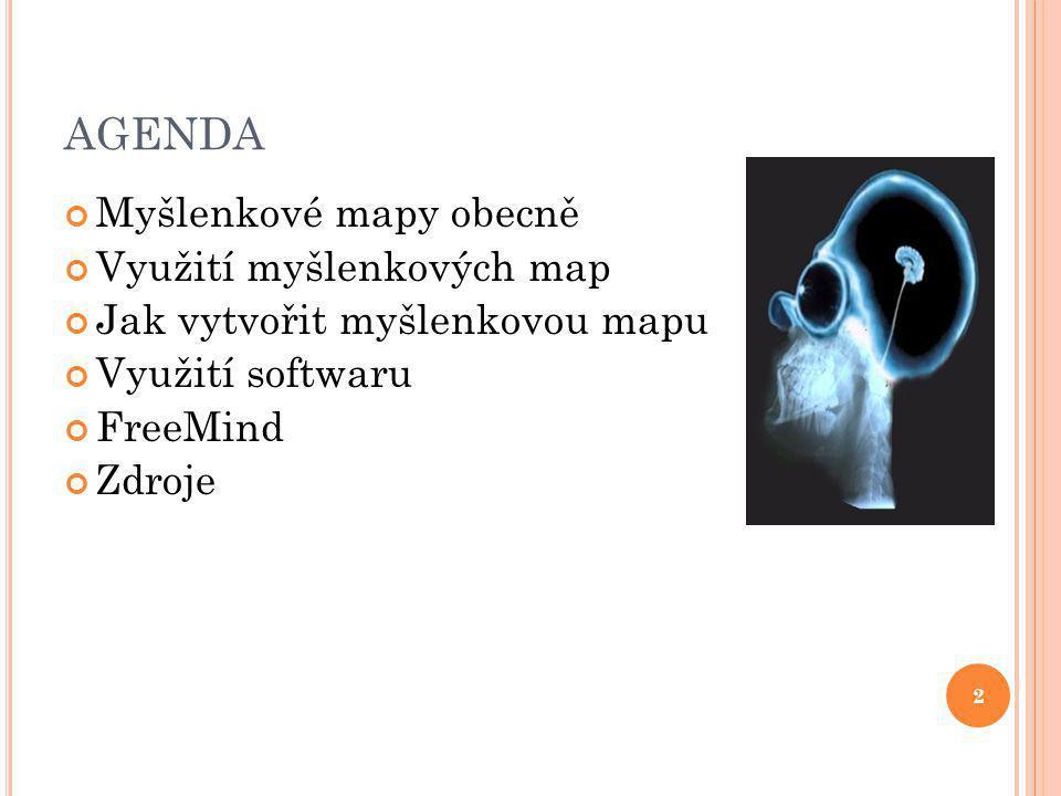 2 AGENDA Myšlenkové mapy obecně Využití myšlenkových map Jak vytvořit myšlenkovou mapu Využití softwaru FreeMind Zdroje