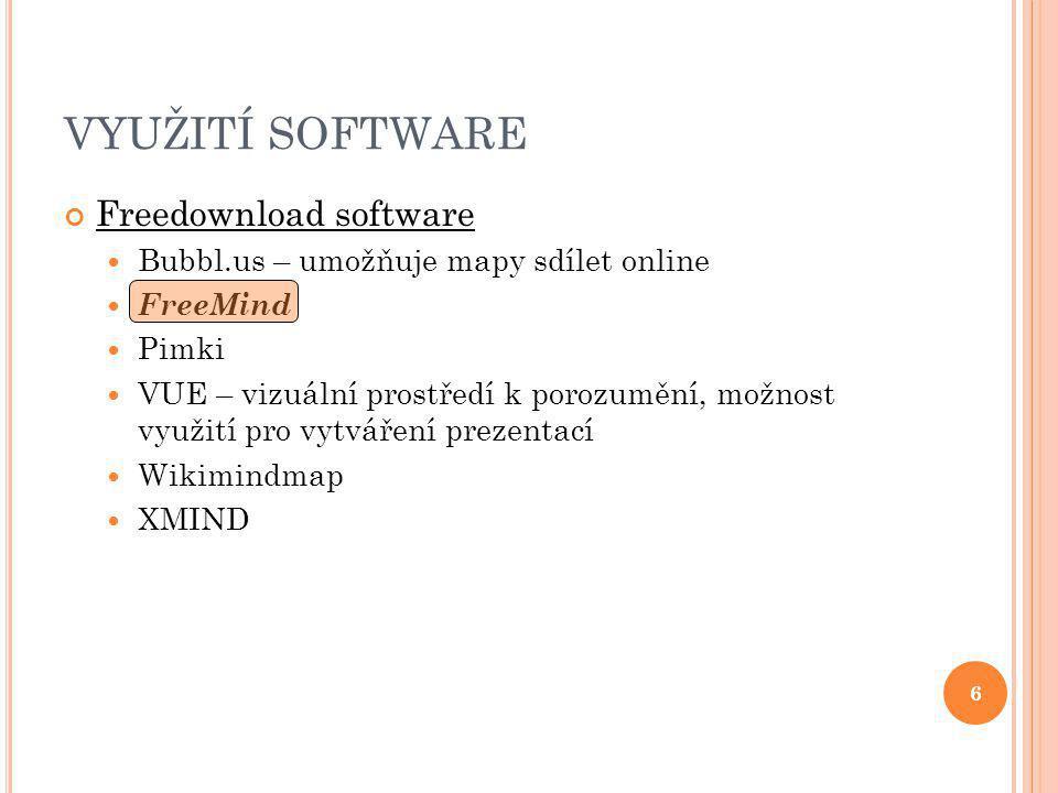 6 VYUŽITÍ SOFTWARE Freedownload software Bubbl.us – umožňuje mapy sdílet online FreeMind Pimki VUE – vizuální prostředí k porozumění, možnost využití pro vytváření prezentací Wikimindmap XMIND