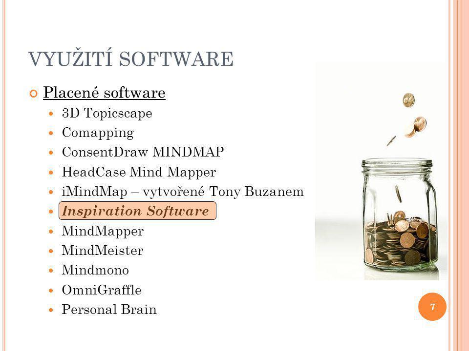 7 VYUŽITÍ SOFTWARE Placené software 3D Topicscape Comapping ConsentDraw MINDMAP HeadCase Mind Mapper iMindMap – vytvořené Tony Buzanem Inspiration Software MindMapper MindMeister Mindmono OmniGraffle Personal Brain