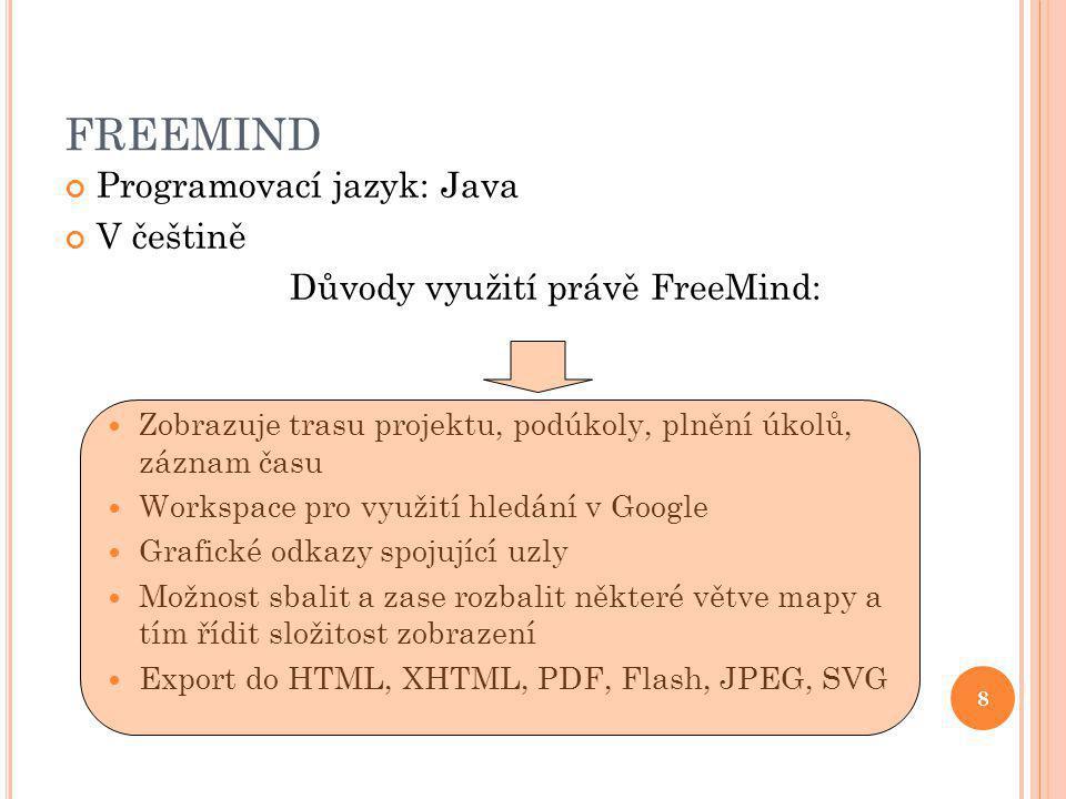 8 FREEMIND Programovací jazyk: Java V češtině Důvody využití právě FreeMind: Zobrazuje trasu projektu, podúkoly, plnění úkolů, záznam času Workspace pro využití hledání v Google Grafické odkazy spojující uzly Možnost sbalit a zase rozbalit některé větve mapy a tím řídit složitost zobrazení Export do HTML, XHTML, PDF, Flash, JPEG, SVG