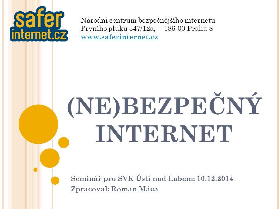 """N ÁRODNÍ CENTRUM BEZPEČNĚJŠÍHO INTERNETU Zajímá se o bezpečnost uživatelů internetu (""""internetový besip ) Výzkum Prevence Intervence Konference, vzdělávací aktivity Soutěže (SAFER INTERNET DAY, únor 2014) Networking Členem INSAFE (celoevropská iniciativa – síť NC) Spolupráce s Google, Facebook, Intel, Policie, úřady samosprávy, Rada Evropy 2"""