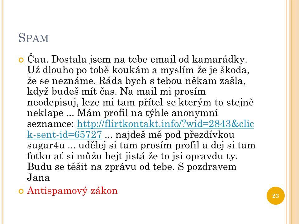 S PAM Čau.Dostala jsem na tebe email od kamarádky.