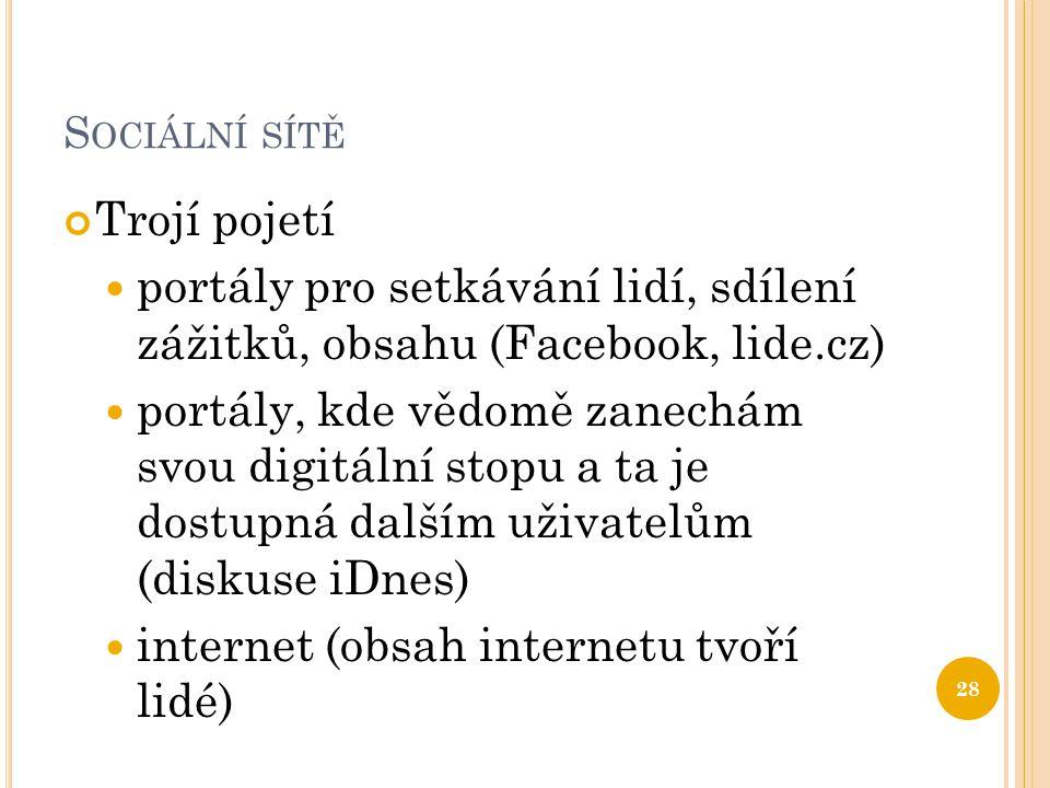 S OCIÁLNÍ SÍTĚ Trojí pojetí portály pro setkávání lidí, sdílení zážitků, obsahu (Facebook, lide.cz) portály, kde vědomě zanechám svou digitální stopu