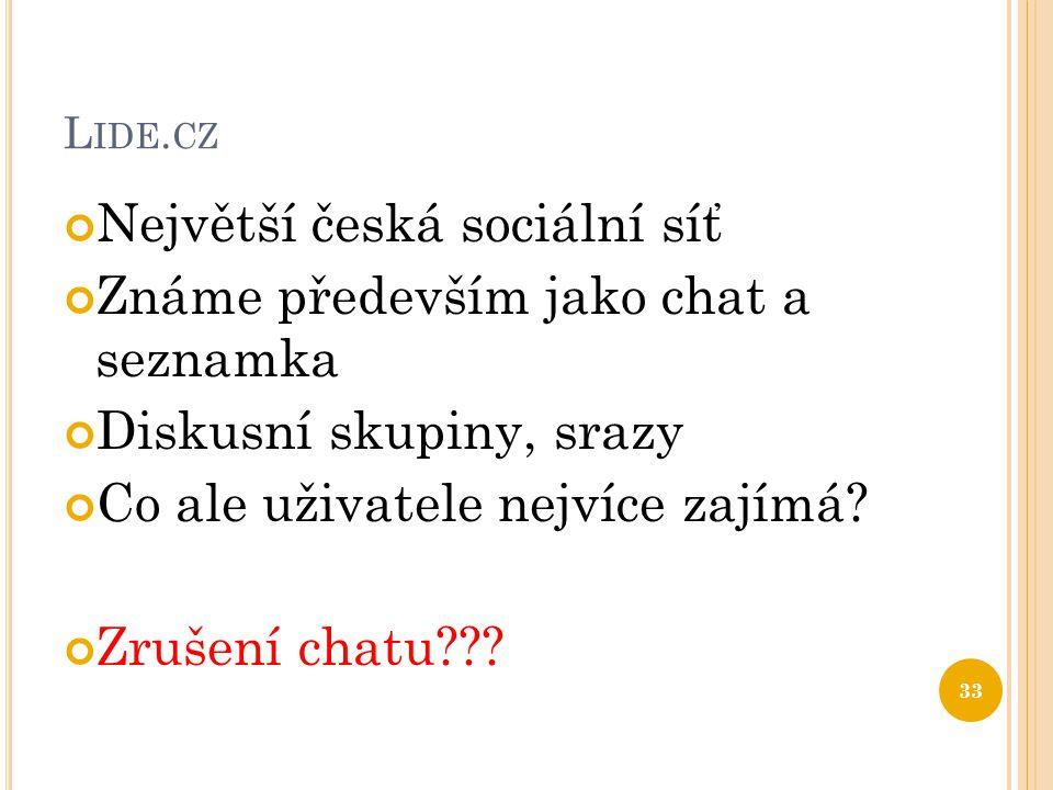 L IDE. CZ Největší česká sociální síť Známe především jako chat a seznamka Diskusní skupiny, srazy Co ale uživatele nejvíce zajímá? Zrušení chatu??? 3
