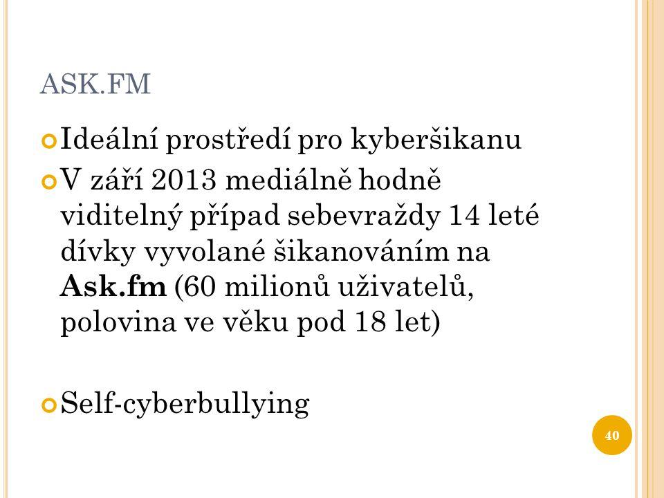 ASK.FM Ideální prostředí pro kyberšikanu V září 2013 mediálně hodně viditelný případ sebevraždy 14 leté dívky vyvolané šikanováním na Ask.fm (60 milionů uživatelů, polovina ve věku pod 18 let) Self-cyberbullying 40
