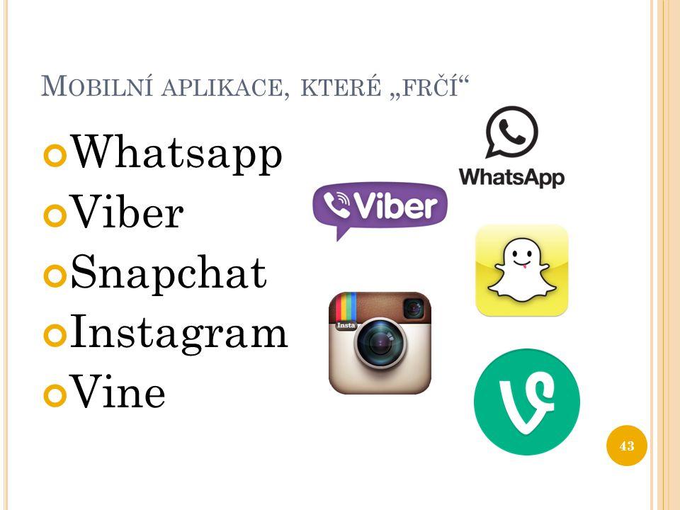 """M OBILNÍ APLIKACE, KTERÉ """" FRČÍ """" Whatsapp Viber Snapchat Instagram Vine 43"""
