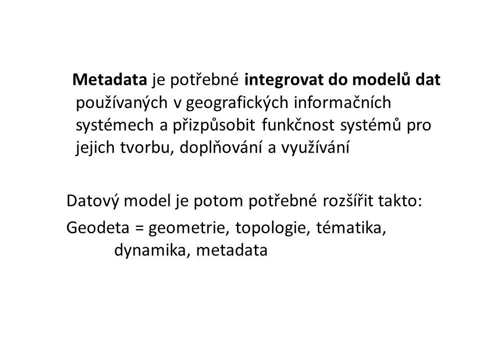 Metadata je potřebné integrovat do modelů dat používaných v geografických informačních systémech a přizpůsobit funkčnost systémů pro jejich tvorbu, doplňování a využívání Datový model je potom potřebné rozšířit takto: Geodeta = geometrie, topologie, tématika, dynamika, metadata