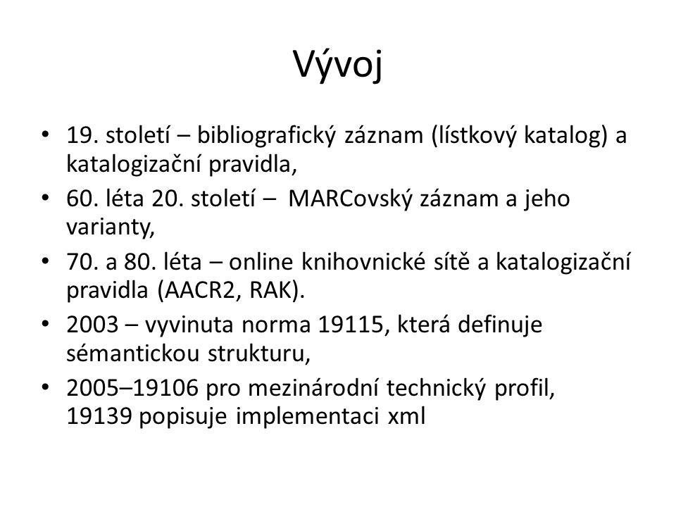 Vývoj 19. století – bibliografický záznam (lístkový katalog) a katalogizační pravidla, 60.