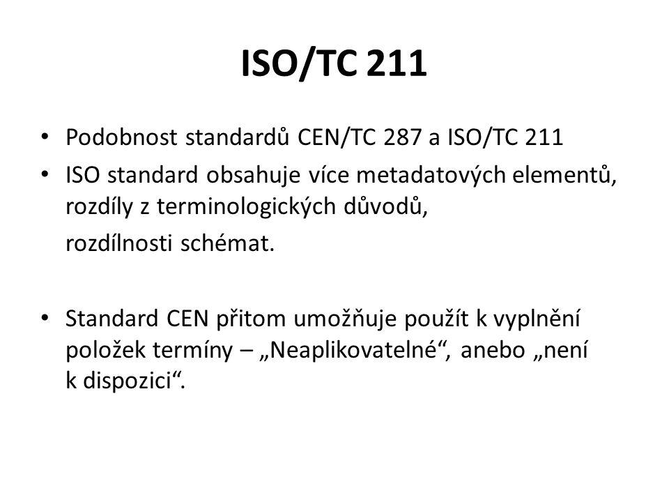 ISO/TC 211 Podobnost standardů CEN/TC 287 a ISO/TC 211 ISO standard obsahuje více metadatových elementů, rozdíly z terminologických důvodů, rozdílnosti schémat.