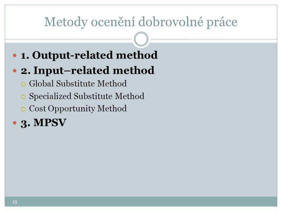 13 Metody ocenění dobrovolné práce 1. Output-related method 2. Input–related method  Global Substitute Method  Specialized Substitute Method  Cost