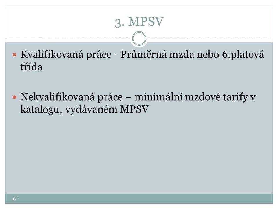17 3. MPSV Kvalifikovaná práce - Průměrná mzda nebo 6.platová třída Nekvalifikovaná práce – minimální mzdové tarify v katalogu, vydávaném MPSV