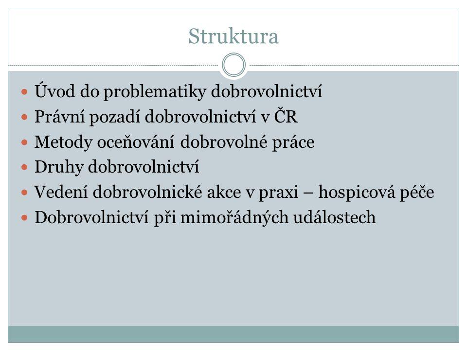 Struktura Úvod do problematiky dobrovolnictví Právní pozadí dobrovolnictví v ČR Metody oceňování dobrovolné práce Druhy dobrovolnictví Vedení dobrovol