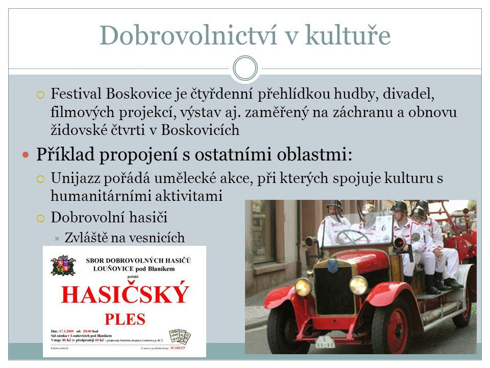 Dobrovolnictví v kultuře  Festival Boskovice je čtyřdenní přehlídkou hudby, divadel, filmových projekcí, výstav aj. zaměřený na záchranu a obnovu žid