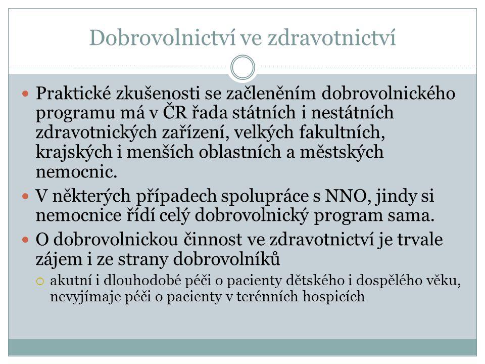 Dobrovolnictví ve zdravotnictví Praktické zkušenosti se začleněním dobrovolnického programu má v ČR řada státních i nestátních zdravotnických zařízení