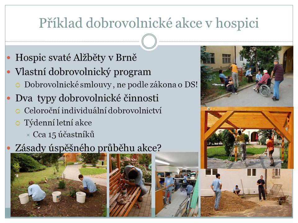 Příklad dobrovolnické akce v hospici Hospic svaté Alžběty v Brně Vlastní dobrovolnický program  Dobrovolnické smlouvy, ne podle zákona o DS! Dva typy