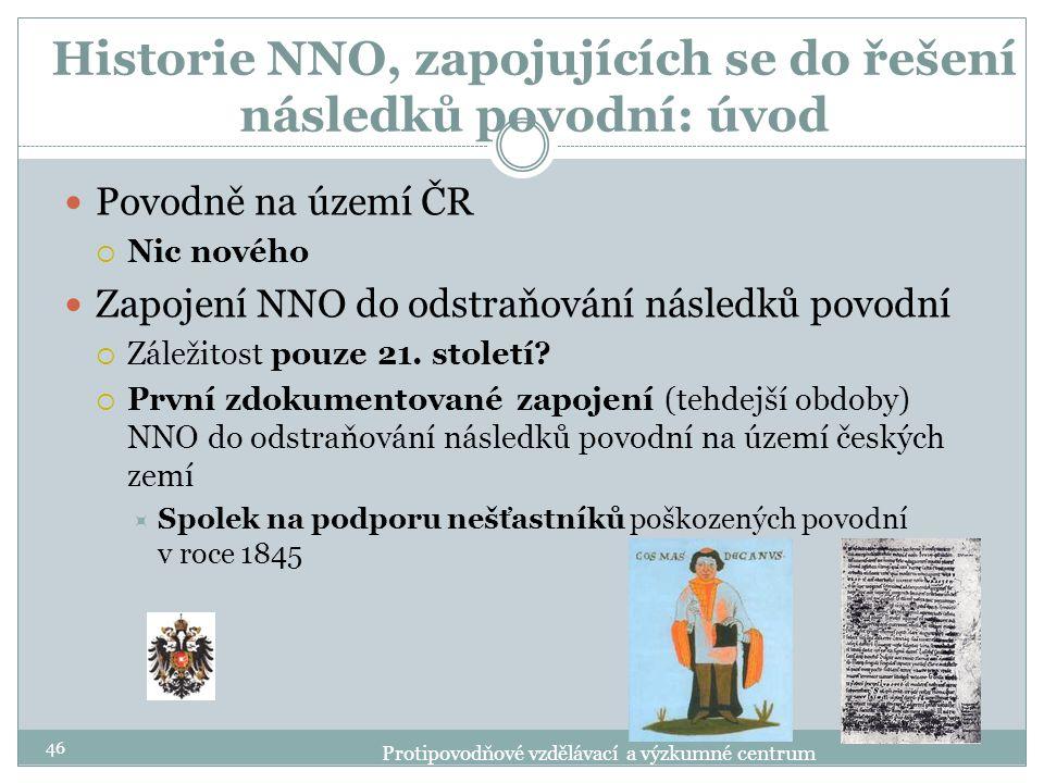 Historie NNO, zapojujících se do řešení následků povodní: úvod Povodně na území ČR  Nic nového Zapojení NNO do odstraňování následků povodní  Záleži