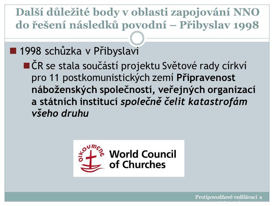 Další důležité body v oblasti zapojování NNO do řešení následků povodní – Přibyslav 1998 1998 schůzka v Přibyslavi ČR se stala součástí projektu Světo