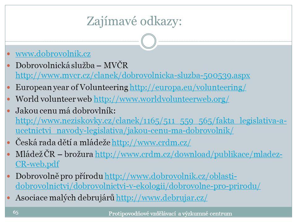 Zajímavé odkazy: www.dobrovolnik.cz Dobrovolnická služba – MVČR http://www.mvcr.cz/clanek/dobrovolnicka-sluzba-500539.aspx http://www.mvcr.cz/clanek/d