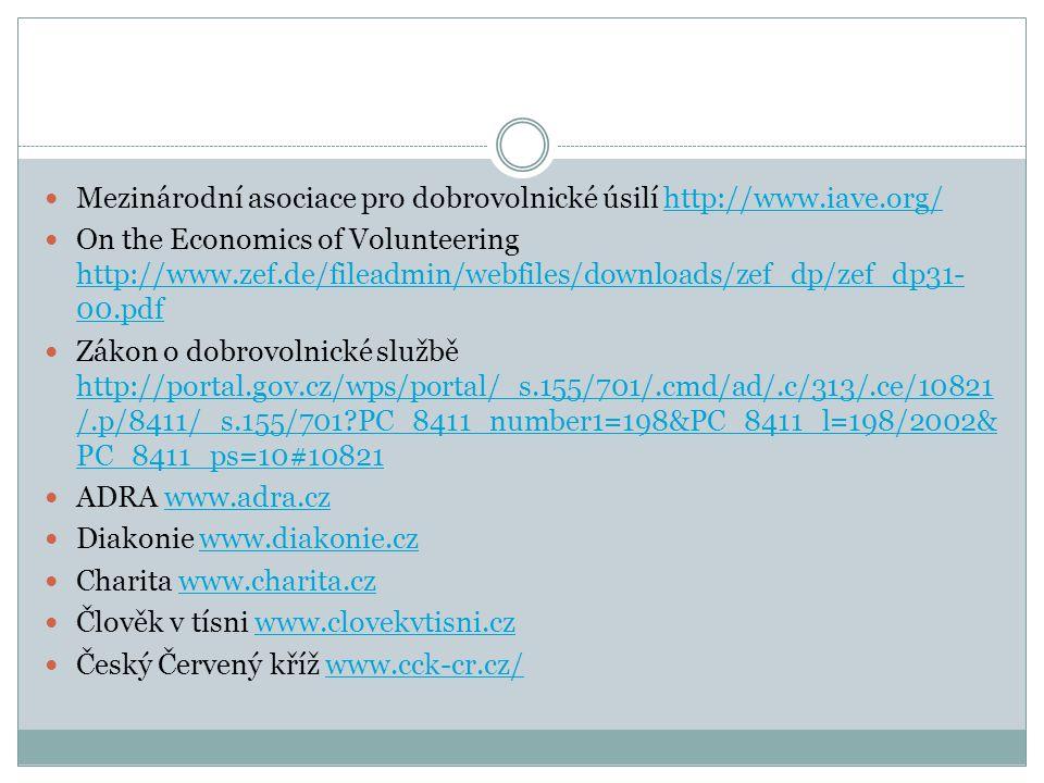 Mezinárodní asociace pro dobrovolnické úsilí http://www.iave.org/http://www.iave.org/ On the Economics of Volunteering http://www.zef.de/fileadmin/web