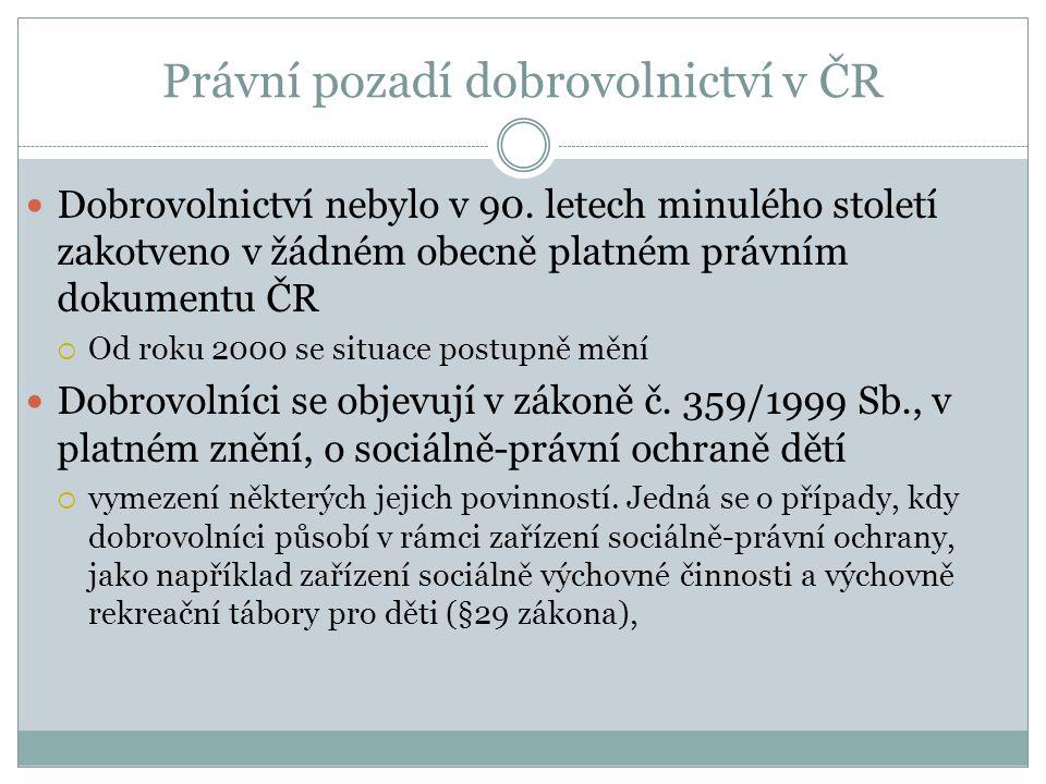 Dobrovolnictví nebylo v 90. letech minulého století zakotveno v žádném obecně platném právním dokumentu ČR  Od roku 2000 se situace postupně mění Dob