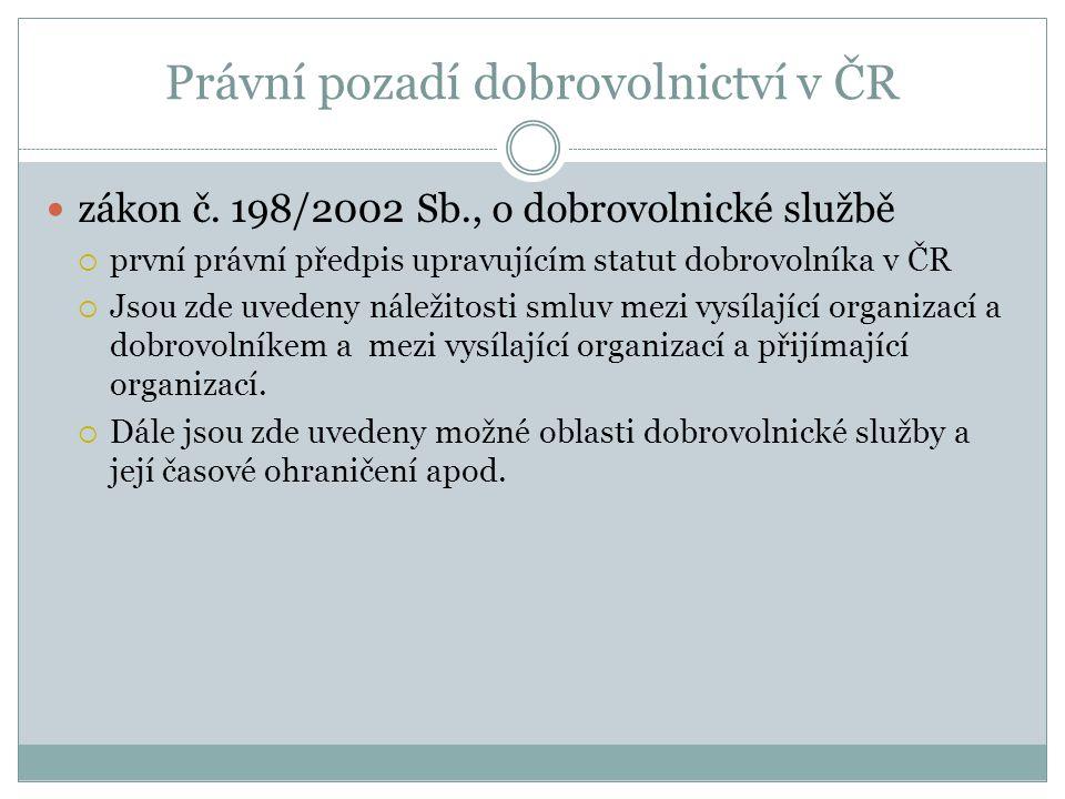 Právní pozadí dobrovolnictví v ČR zákon č. 198/2002 Sb., o dobrovolnické službě  první právní předpis upravujícím statut dobrovolníka v ČR  Jsou zde