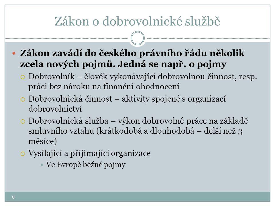 9 Zákon o dobrovolnické službě Zákon zavádí do českého právního řádu několik zcela nových pojmů. Jedná se např. o pojmy  Dobrovolník – člověk vykonáv
