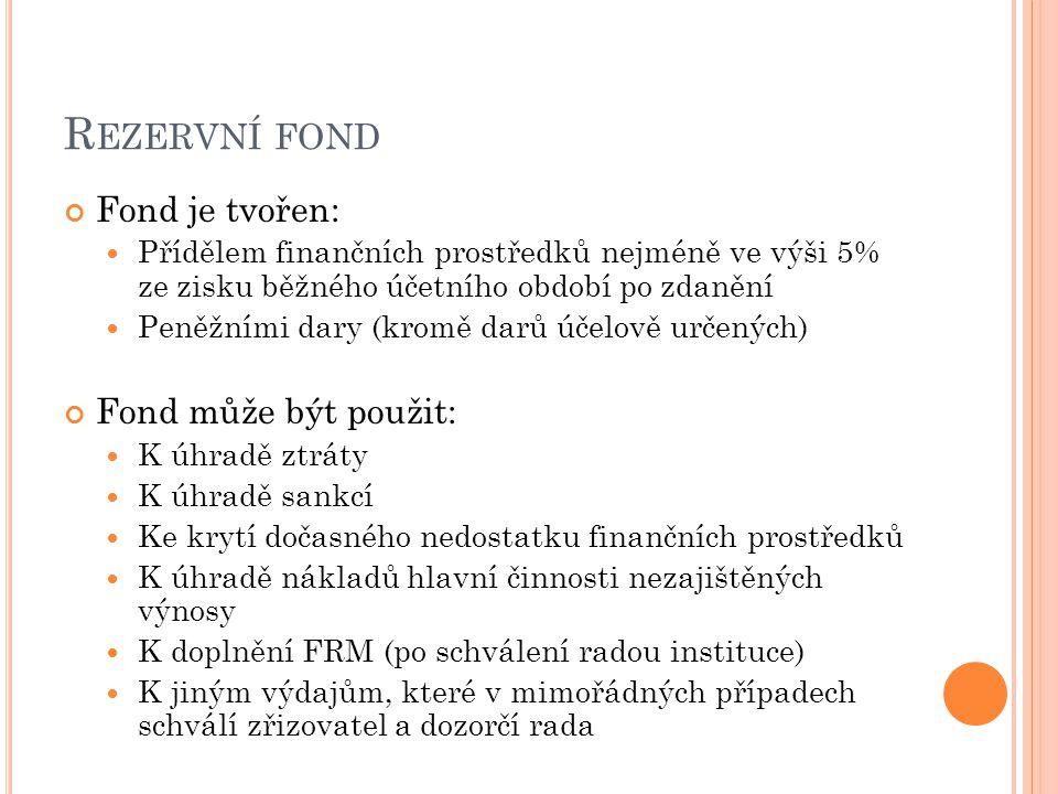 R EZERVNÍ FOND Fond je tvořen: Přídělem finančních prostředků nejméně ve výši 5% ze zisku běžného účetního období po zdanění Peněžními dary (kromě darů účelově určených) Fond může být použit: K úhradě ztráty K úhradě sankcí Ke krytí dočasného nedostatku finančních prostředků K úhradě nákladů hlavní činnosti nezajištěných výnosy K doplnění FRM (po schválení radou instituce) K jiným výdajům, které v mimořádných případech schválí zřizovatel a dozorčí rada