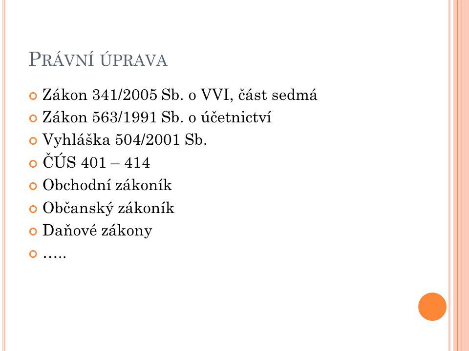 Zákon 341/2005 Sb.o VVI, část sedmá Zákon 563/1991 Sb.