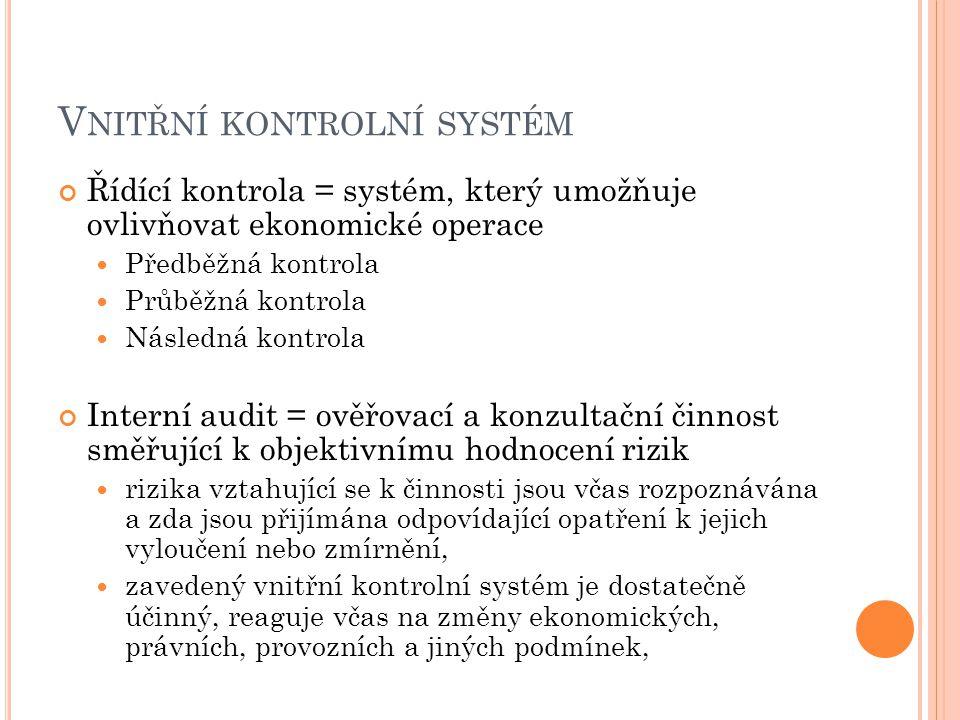 V NITŘNÍ KONTROLNÍ SYSTÉM Řídící kontrola = systém, který umožňuje ovlivňovat ekonomické operace Předběžná kontrola Průběžná kontrola Následná kontrol