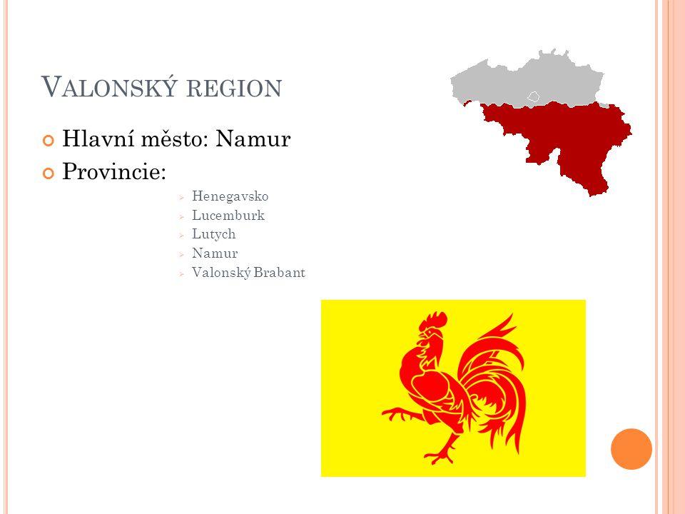 V ALONSKÝ REGION Hlavní město: Namur Provincie:  Henegavsko  Lucemburk  Lutych  Namur  Valonský Brabant