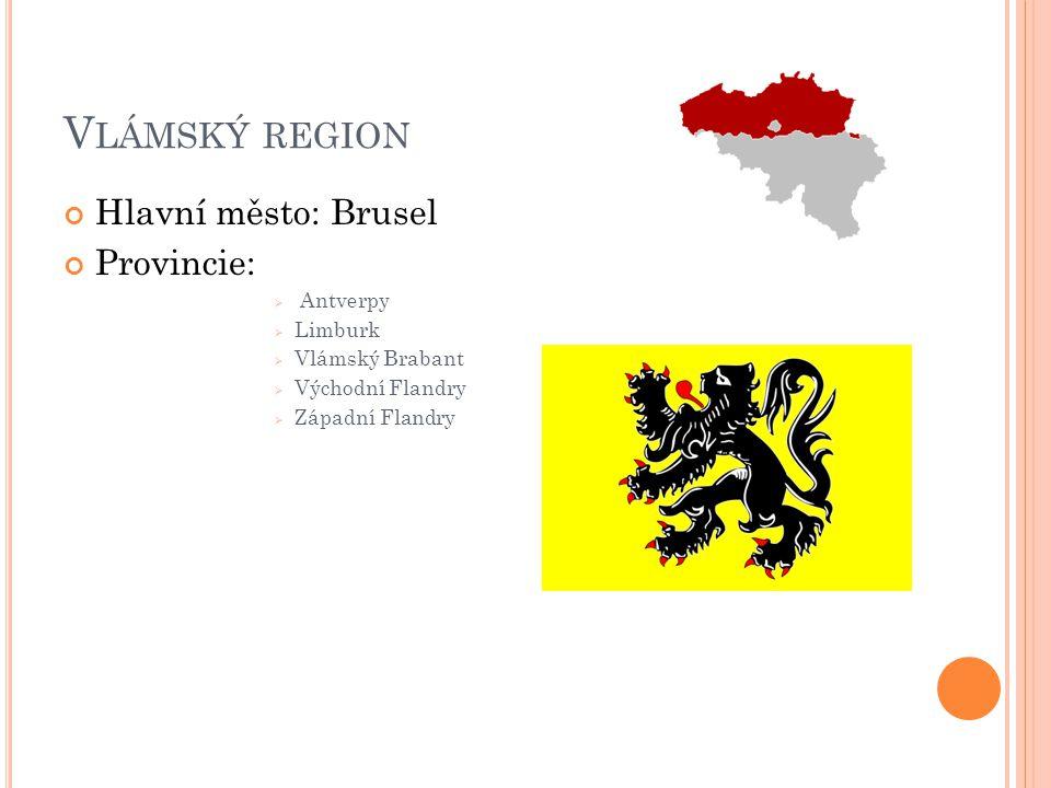 V LÁMSKÝ REGION Hlavní město: Brusel Provincie:  Antverpy  Limburk  Vlámský Brabant  Východní Flandry  Západní Flandry