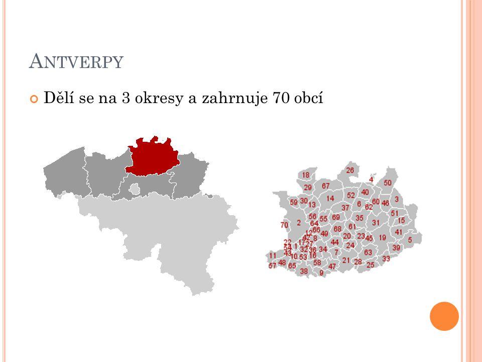 A NTVERPY Dělí se na 3 okresy a zahrnuje 70 obcí