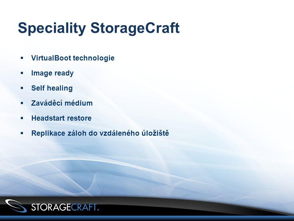  VirtualBoot technologie  Image ready  Self healing  Zaváděcí médium  Headstart restore  Replikace záloh do vzdáleného úložiště Speciality StorageCraft