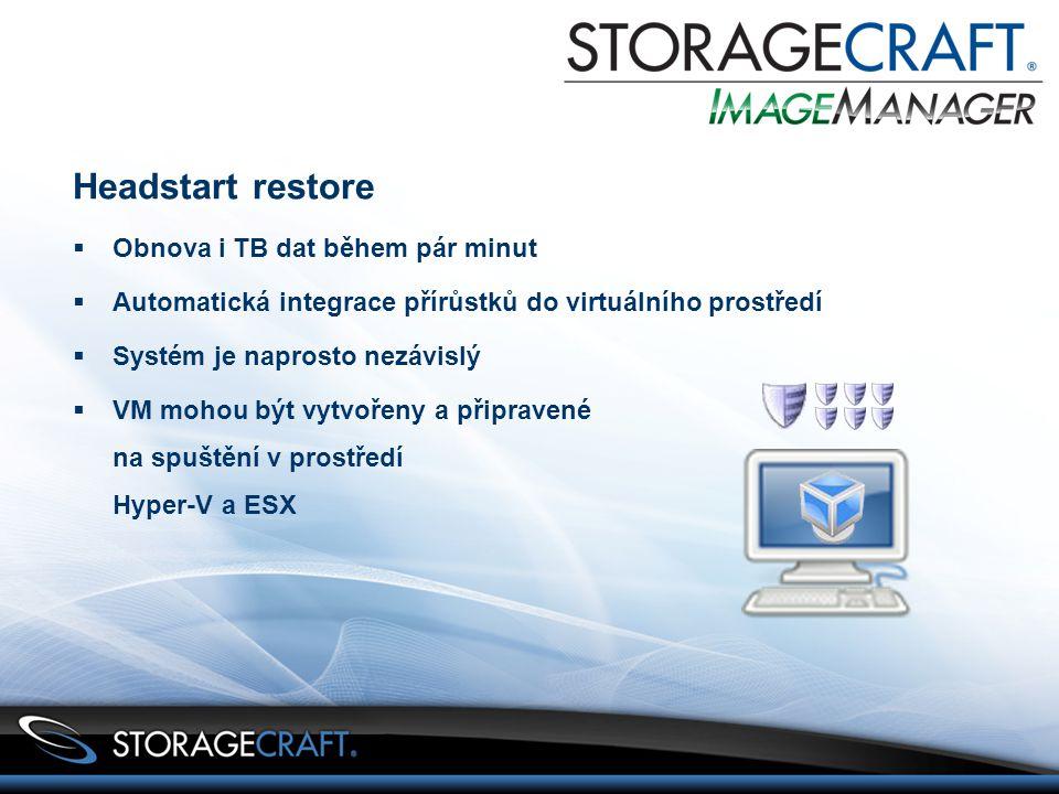 Headstart restore  Obnova i TB dat během pár minut  Automatická integrace přírůstků do virtuálního prostředí  Systém je naprosto nezávislý  VM mohou být vytvořeny a připravené na spuštění v prostředí Hyper-V a ESX