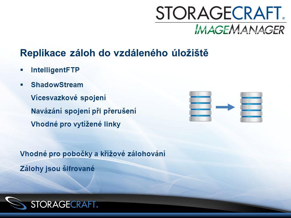 Replikace záloh do vzdáleného úložiště  IntelligentFTP  ShadowStream Vícesvazkové spojení Navázání spojení při přerušení Vhodné pro vytížené linky Vhodné pro pobočky a křížové zálohování Zálohy jsou šifrované