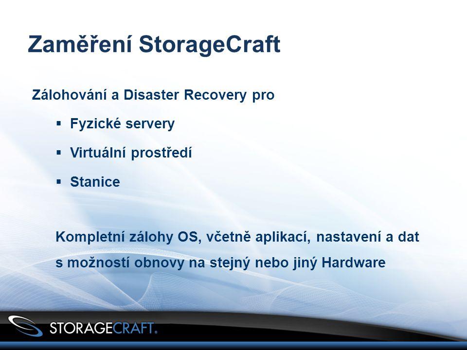 Zaměření StorageCraft Zálohování a Disaster Recovery pro  Fyzické servery  Virtuální prostředí  Stanice Kompletní zálohy OS, včetně aplikací, nastavení a dat s možností obnovy na stejný nebo jiný Hardware