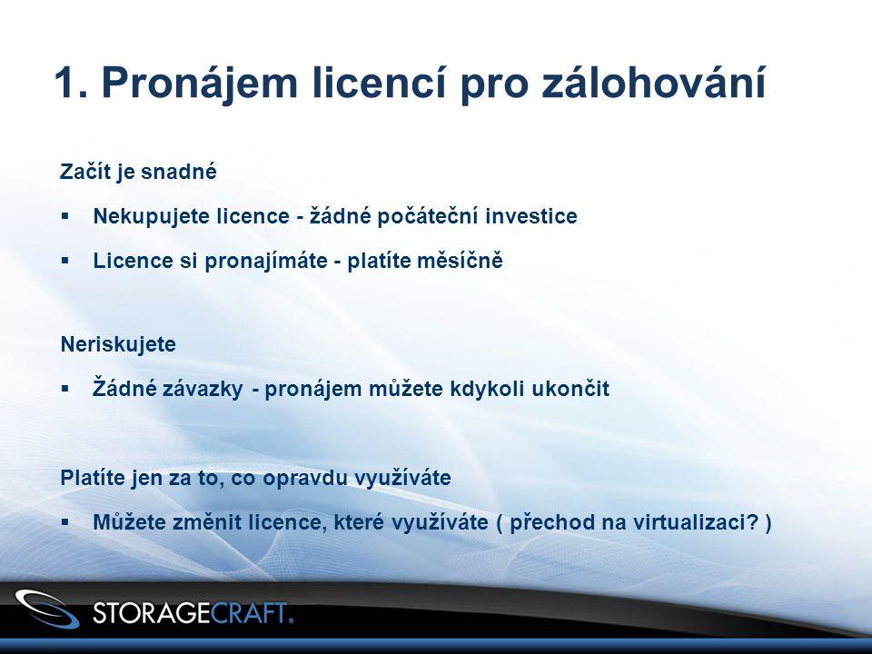 1. Pronájem licencí pro zálohování Začít je snadné  Nekupujete licence - žádné počáteční investice  Licence si pronajímáte - platíte měsíčně Nerisku