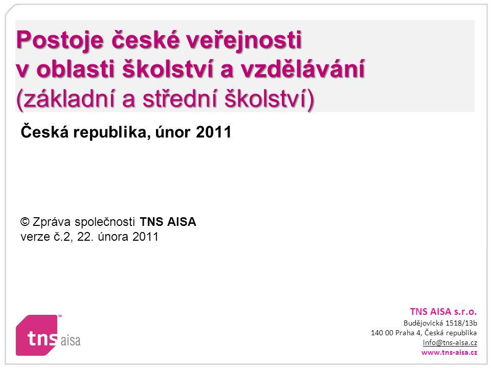 TNS AISA s.r.o. Budějovická 1518/13b 140 00 Praha 4, Česká republika info@tns-aisa.cz www.tns-aisa.cz info@tns-aisa.cz Postoje české veřejnosti v obla