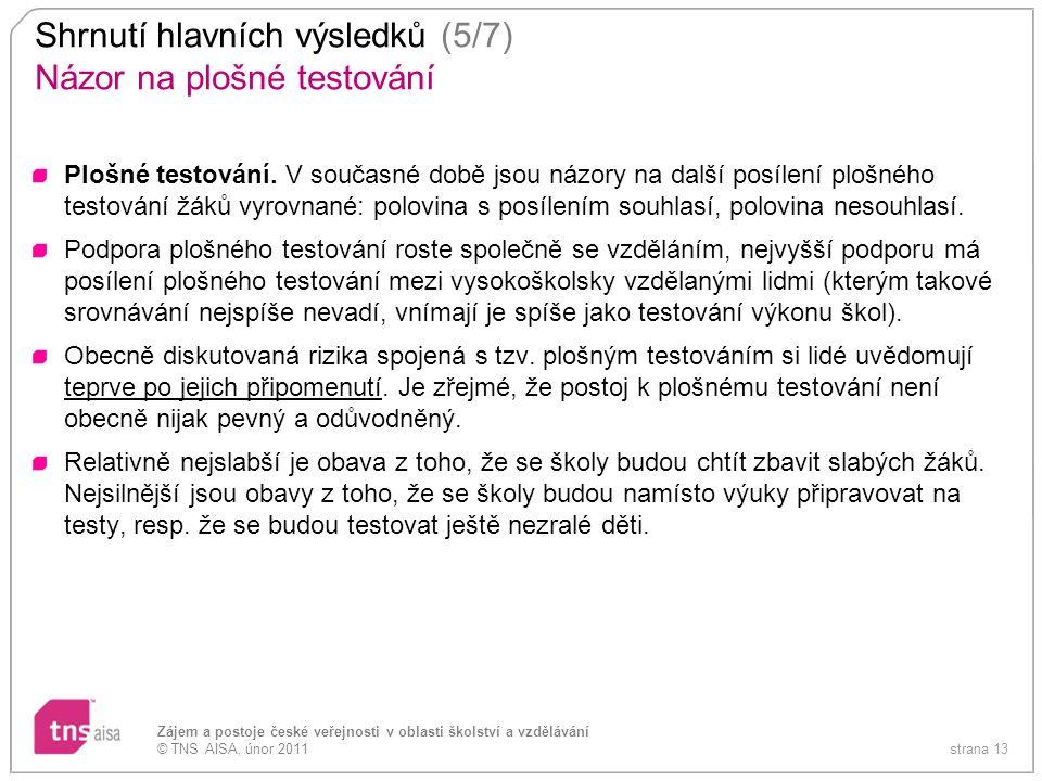 strana 13 Zájem a postoje české veřejnosti v oblasti školství a vzdělávání © TNS AISA, únor 2011 Shrnutí hlavních výsledků (5/7) Názor na plošné testo