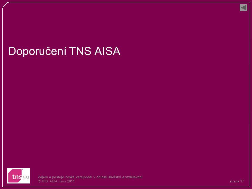 strana 17 Zájem a postoje české veřejnosti v oblasti školství a vzdělávání © TNS AISA, únor 2011 Doporučení TNS AISA