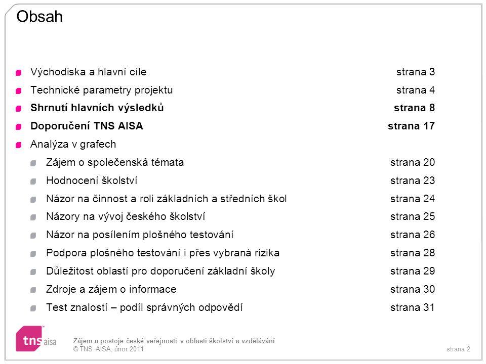 strana 2 Zájem a postoje české veřejnosti v oblasti školství a vzdělávání © TNS AISA, únor 2011 Obsah Východiska a hlavní cílestrana 3 Technické param