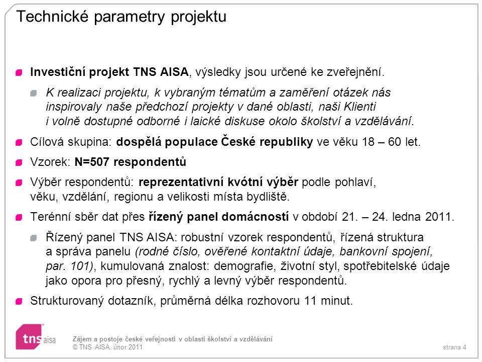 strana 4 Zájem a postoje české veřejnosti v oblasti školství a vzdělávání © TNS AISA, únor 2011 Technické parametry projektu Investiční projekt TNS AI