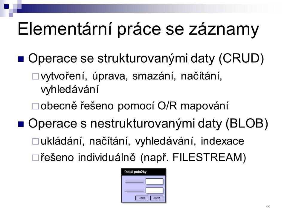 Elementární práce se záznamy Operace se strukturovanými daty (CRUD)  vytvoření, úprava, smazání, načítání, vyhledávání  obecně řešeno pomocí O/R map